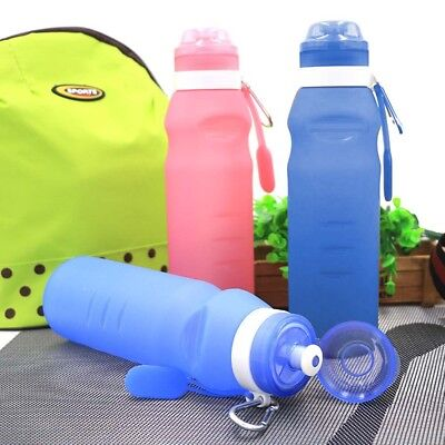 600ml Foldable Leakproof Water Bottle Silicone Portable Sport Kettle Outdoor Cup