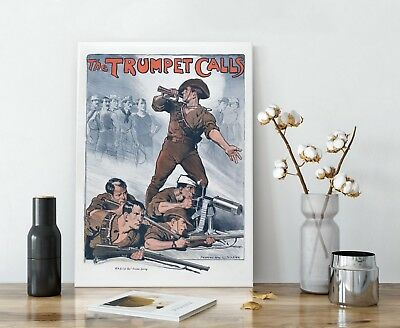 WW1 Propaganda Poster - WWI Allied Military Illustration Wall Art Collectibles