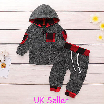 Newborn Baby Boys Hooded Tops T Shirt Long Pants Outfits Clothes Set Tracksuit