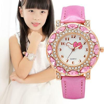 Pink Cute Kitty Wrist Watch Girl Teens Kids Cartoon Quartz Analog Watches Gift