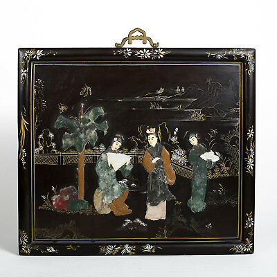 Antique Chinese Hard Stone Precious Carved Panel Painting Lacquer Geisha Jade