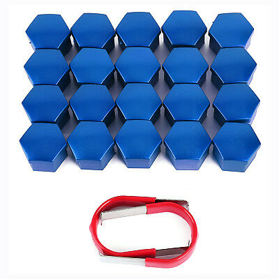 20x 17MM BLUE ALLOY WHEEL NUT BOLT COVERS CAPS UNIVERSAL FOR ANY CAR + 2x TOOLS