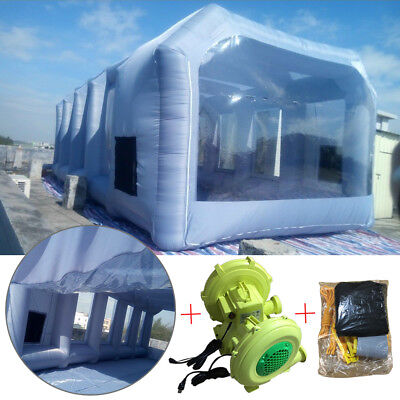 7x4x2.5m Portable Inflatable Tent Paint Spray Booth Car Workstation w/ 2 Blowers