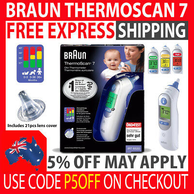 Braun Thermoscan 7 Irt6520 Baby Infant Digital Ear Thermometer + 21 Lens Covers