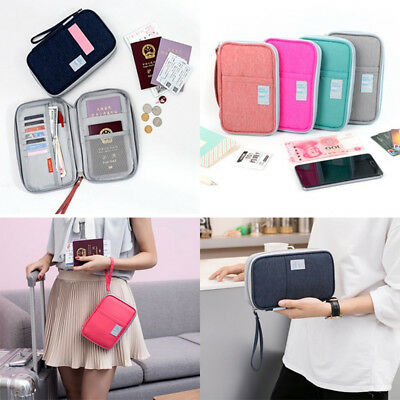 Oxford Passport Wallet Holder Travel Document Organizer Money Card Zipper Pouch