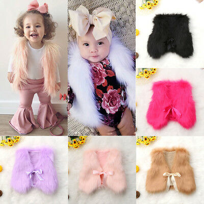 US Winter Warm Baby Girls Toddler Kids Faux Fur Vest Gilet Outerwear Coat Jacket