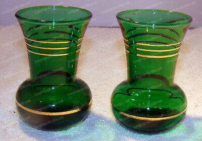 Antique Emerald Green Glass Vase's (2) Miniature, Gold Accent