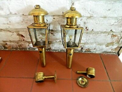 Pair of Small Glass Panel Brass Finished Wall Hanging Oil Lamp Decorative