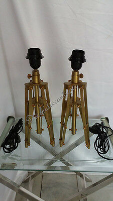 Pair Of Two  Brass Finish Reproduction Table Lamp Stand Vintage Decor