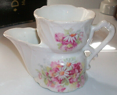 ANTIQUE Victorian Porcelain Ceramic Shaving Mug Cup White with Flowers NICE!!
