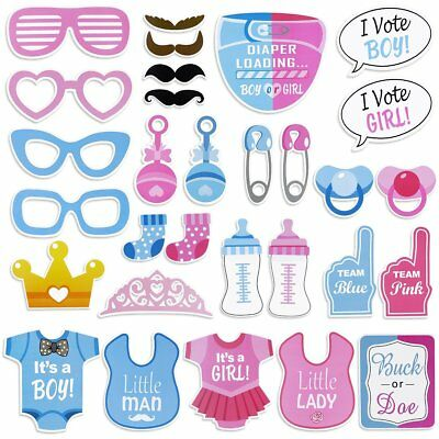 30pcs I Vote Boy or Girl Baby Shower Photo Booth Props New Born Party Decoration
