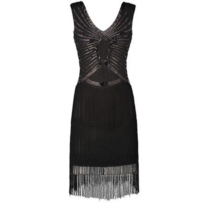 New 1920s vintage gatsby flapper charleston sequins tassels black dress UK 10-16