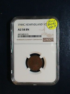 1944C Newfoundland One Cent NGC AU58 BN 1C Coin PRICED TO SELL NOW!
