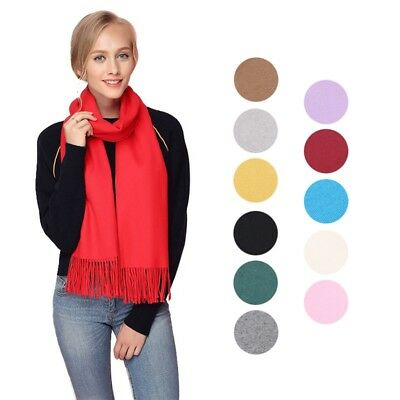 Unisex Solid Scarf Students Winter Autumn Elegant Thick Shawl Stole With Tassel