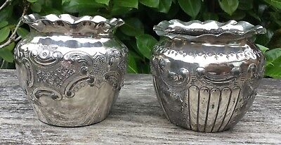2 Late 19th Early 20th Century Silver Plated Decorative Vases Marked HB