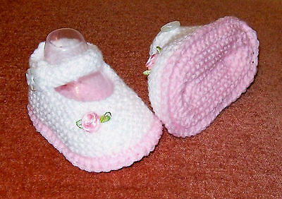 Hand Knitted Baby Bootie/Shoe 0-3mth. WHITE& Pink. Rose on Booties . Home Made