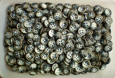 M53 Small 12mm 20L Cream Swirl 4 Hole Antique Silver Metal Rim Shirt Buttons