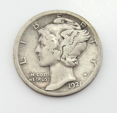 1921-D U.s. Mercury Dime Tough Date Silver Coin No Reserve #2668