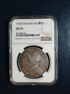 1934 PANAMA BALBOA NGC AU55 SILVER 1B Coin PRICED TO SELL NOW!