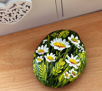 """Painted Stone Rock Pebble Paperweight """"Daisies in Cornfield"""" by Judith Rowe"""