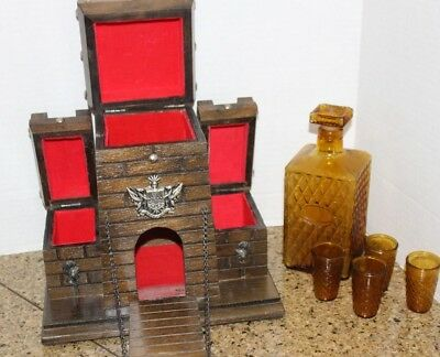 Vintage Gothic Wooden Castle Liquor Chest Decanter 4 Shot Glasses Barware Set