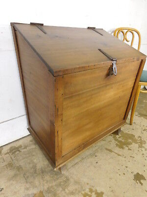 Vintage Large Firewood Chest Trunk Pine Construction Lift Top Lid