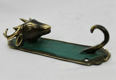Bronze Deer Stag wall hook peg coat rack hanger farmhouse decor Bali Art