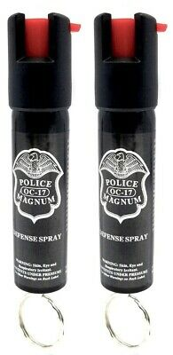 2 Police Magnum pepper spray .75oz keyring personal safety defense protection
