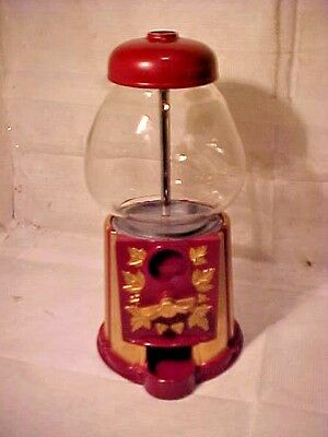 """CANDY GUMBALL Machine Olde Tyme Reproductions RED & GOLD COLOR 9 1/4""""T X 5 1/8""""W"""