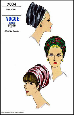 TURBAN Alopecia Cancer Millinery Cap Hats VOGUE 7034 Fabric Sew Pattern One Size