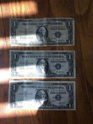 LOT OF THREE (3) SILVER CERTIFICATES 1-1935 And 2-1957