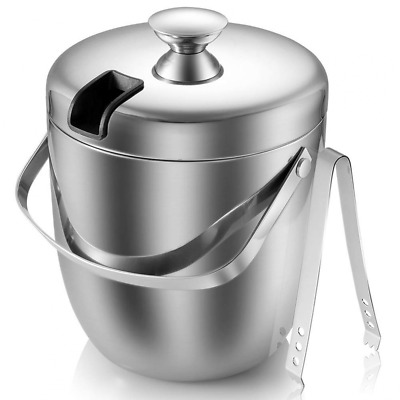 Insulated Ice Bucket,Stainless Steel Double Wall with Lid and Tongs,2.8-Litre,Si