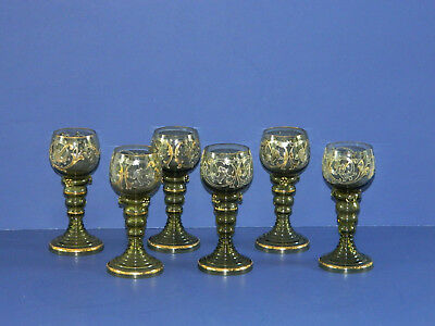 Antique Set Of Six Victorian  Cordials Or Wine Glasses Gold And Silver Overlay