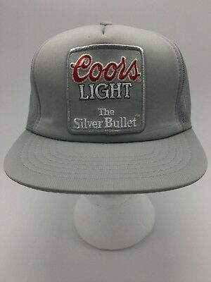 Vintage Coors Light The Silver Bullet Trucker Hat Cap Snapback Mesh Hipster Gray