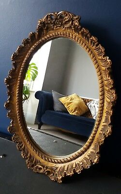 Ornate oval gold gesso mirror vintage roccoco French shabby chic