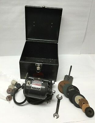 Dumore 14-011 Lathe Machinist Tool Post Grinder 1/14HP 115V w/ Accessories, Case