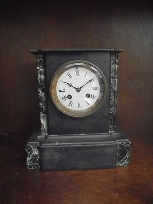 Victorian Black Slate & Marble Mantle Clock, With Enamel Face. Very High Quality