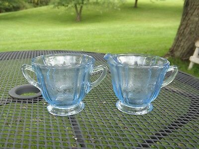 Vintage Indiana Glass Blue Madrid Recollection Creamer & Sugar Set