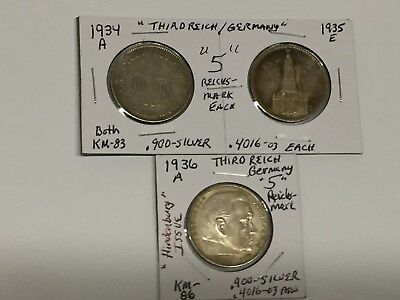 1934-A 1935-E 1936-A Third Reich Germany SILVER 5-Reichsmark LOT NO RESERVE + FS