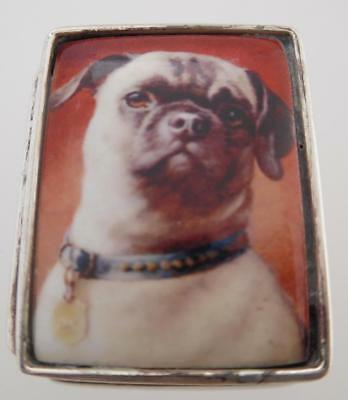 Vintage Sterling Silver Pug Decorated Silver Snuff Box/Trinket Box (TB108