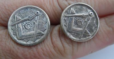 Pair of Vintage Sterling Silver 925 Masonic Cufflinks Square and Compasses (TB97