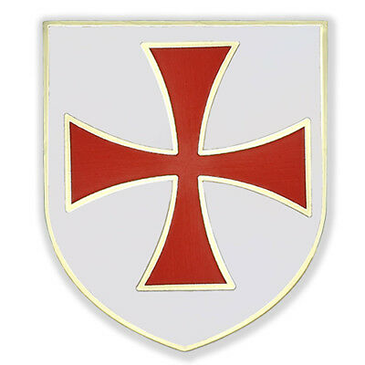 Christian Army Crusader Knights Templar Red Cross White Shield Gold Pin Gift Box