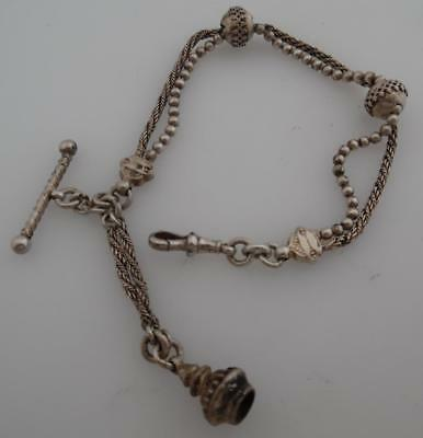 Silver Antique Double Albert Watch Chain/Albertina Fob Tassel Bracelet (ST30