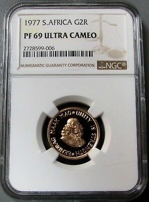 1977 Gold South Africa 2 Rand J Van Riebeeck Ngc Proof 69 Ultra Cameo