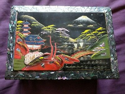 Vintage Japanese Musical Hand Painted & Mother Of Pearl Jewellery Box