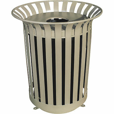 UltraSite 36-Gal Lexington Receptacle Frame with Flat Top Lid and Liner- Beige