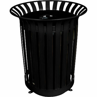 UltraSite 36-Gal Lexington Receptacle Frame with Flat Top Lid and Liner- Black