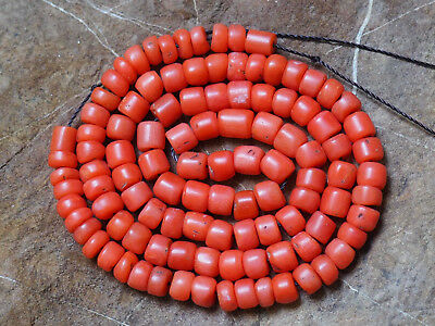 Natural Antique Salmon Aka Coral Organic Untreated Necklace 100 % Old 珊瑚自然之星 Red