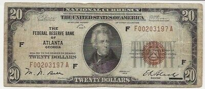 1929 $20 National Currency Federal Reserve Bank of Atlanta Fr-1870F