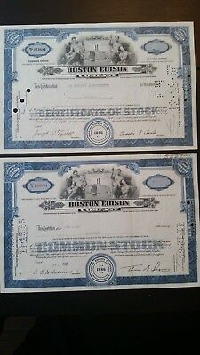 Lot of 2 Boston Edison Expired Stock Certificates Vintage!